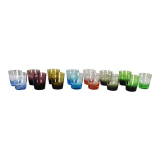 Set of 15 Multi Color Old Fashioned Glass Cocktail Tumblers For Sale