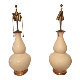 Christopher Spitzmiller White & Gold Table Lamps - A Pair