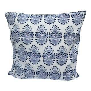 John Robshaw Blue and White Pillow For Sale