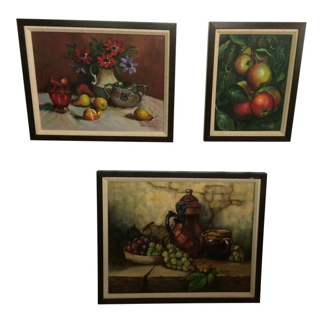 Three Vintage Still Life Oil & Acrylic Framed Paintings by Sacramento Artist Fran King - Group of 3 For Sale