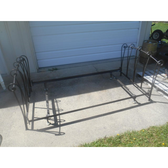 Wrought Iron Sleigh Twin Bed Frame - Image 2 of 10