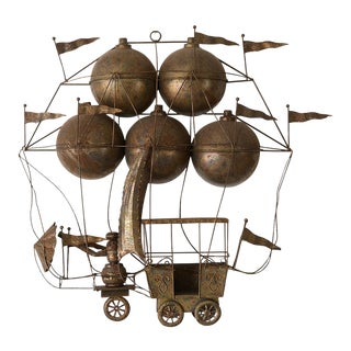 Vintage Copper Hot Air Balloon Flying Machine Wall Sculpture For Sale