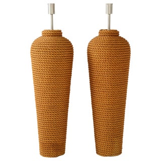 Pair of Monumental 1960s French Rope Floor Lamps For Sale