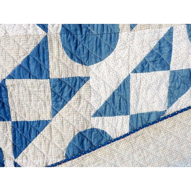 Antique Blue & White Graphic Quilt For Sale In San Antonio - Image 6 of 10