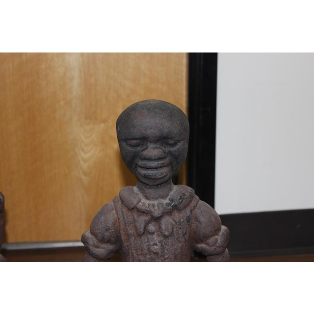 19th Century Antique Black Americana Cast Iron Fireplace Andirons For Sale In Los Angeles - Image 6 of 6