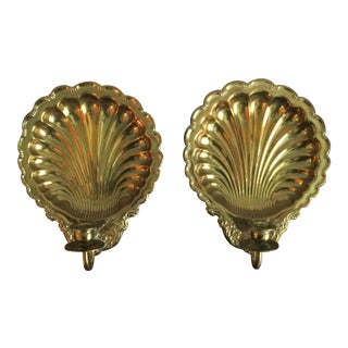 Vintage Solid Brass Shell Candle Wall Sconces - A Pair
