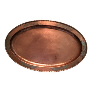 1910s Arts & Crafts Copper on Pewter Serving Tray