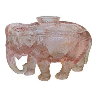 Vintage 1920s Pink Depression Glass Lidded Elephant Trinket Dish For Sale
