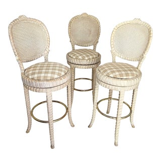 Vintage Carved Rope Bar Stools- Set of 3 For Sale