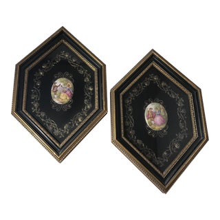 """Pair of Beautiful Professionally Framed Fragonard Courtship Scenes on 2.5"""" X 1.75"""" Oval (Porcelain?) Cabochons For Sale"""