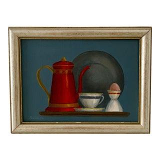 "Mid-Century Modern ""Breakfast"" Acrylic Painting For Sale"