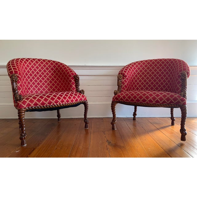 Vintage Mid Century Napoleon III Style Rope and Tassel Tub Chairs - A Pair For Sale In Atlanta - Image 6 of 6