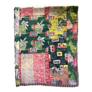Vintage 1950s Barkcloth Quilt