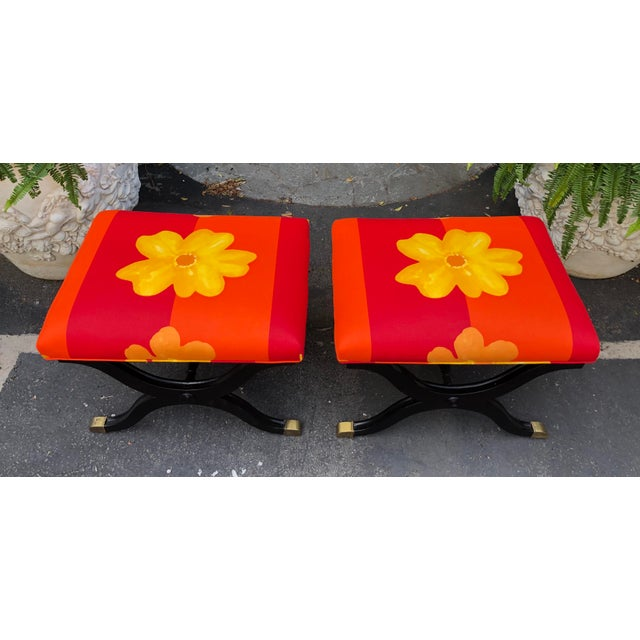 Pair of French Art Deco X Benches W Marimekko Seats For Sale - Image 4 of 7