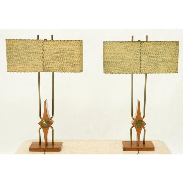 Pair of Walnut and Brass Diamond Pattern Table Lamps For Sale - Image 13 of 13