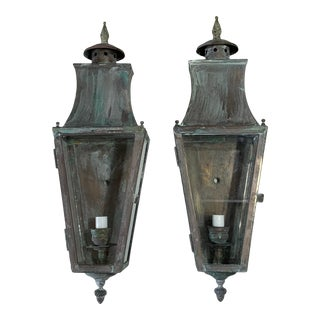 1960s Brass Wall Hanging Lanterns - a Pair For Sale