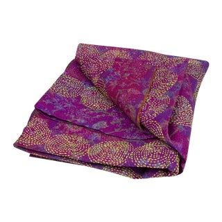 Lavender Chakra Silk Kantha Throw For Sale
