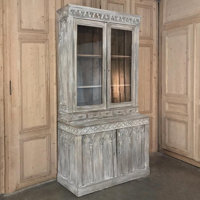 Gothic 19th Century French Gothic Whitewashed Bookcase For Sale - Image 3 of 13