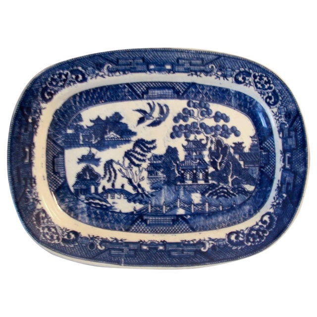Antique Blue Willow Platter - Image 1 of 4