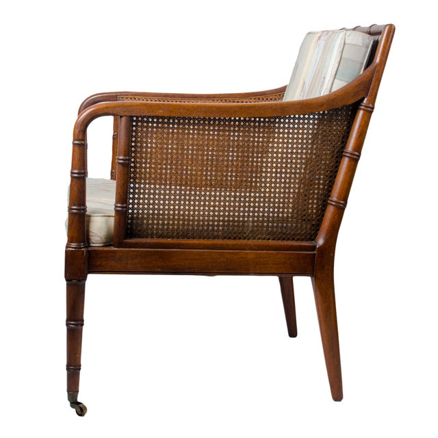 Hickory Chair Furniture Company 1960s Regency Hickory Chair Co. Bamboo & Cane Chair For Sale - Image 4 of 8