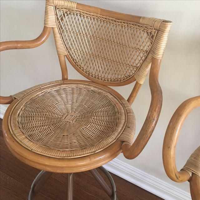 Vintage Wicker Bar Stools - A Pair - Image 7 of 7