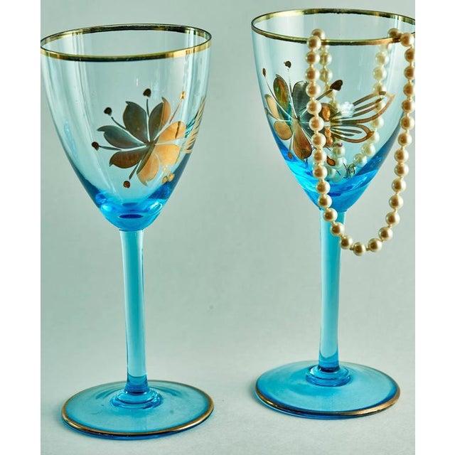Sea Blue & Gold Leaf Decanter & Glassware Set - Image 8 of 10