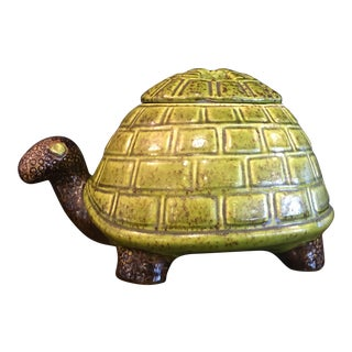 Vintage Italian Glazed Ceramic Turtle W/ Lid For Sale