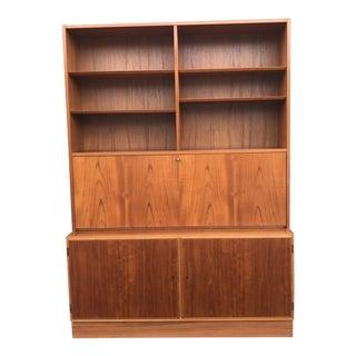 1970s Vintage Danish Modern Teak Poul Hundevad 2 Part Desk & Bookcase For Sale