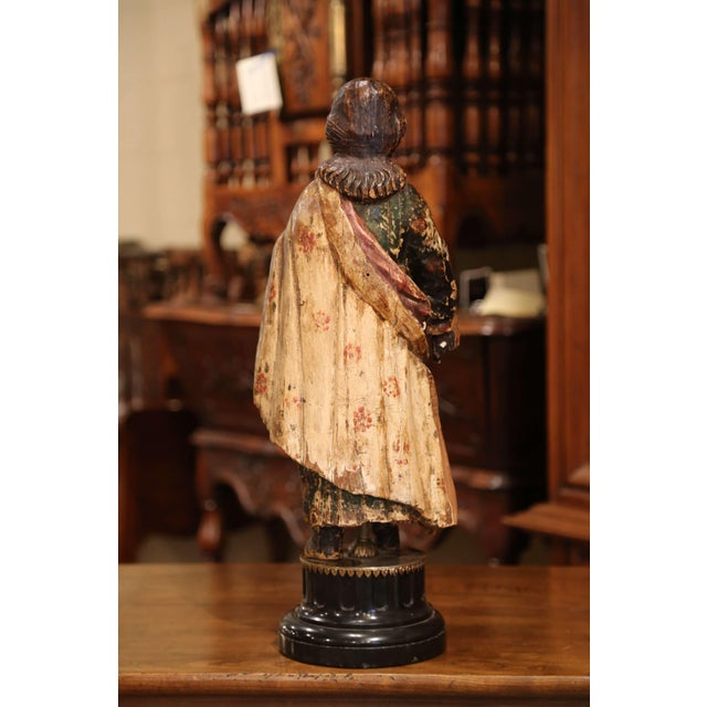 Early 18th Century Early 18th Century Italian Carved Polychromed Sculpture of Christ on Marble Base For Sale - Image 5 of 7