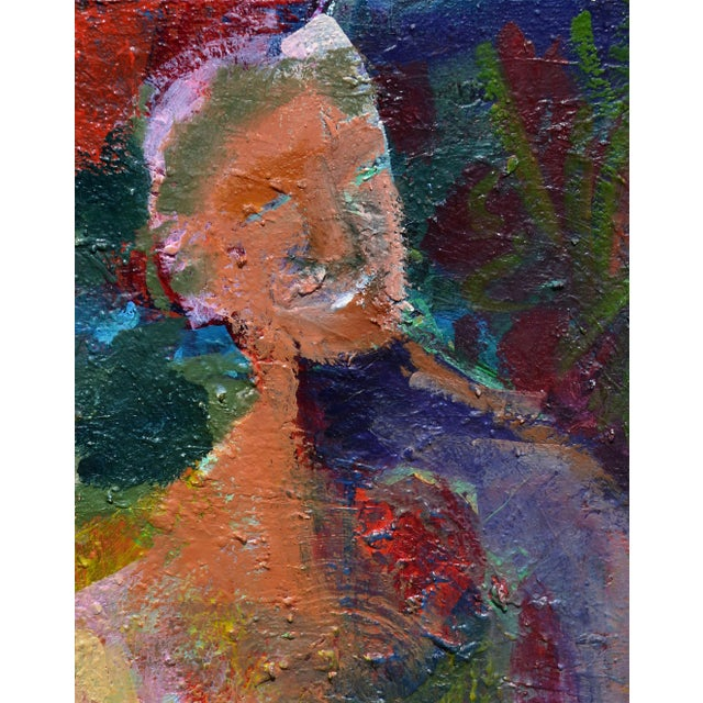 Oil painting of a colorful abstract male figure by Kristin Cohen (American, b. 1963). A California abstract expressionist...