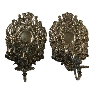 Antique Silvered Bronze Candle Wall Sconces For Sale