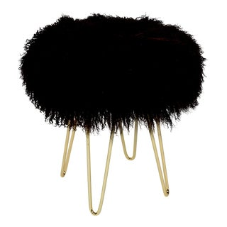 Curly Hairpin Brass Black Stool For Sale