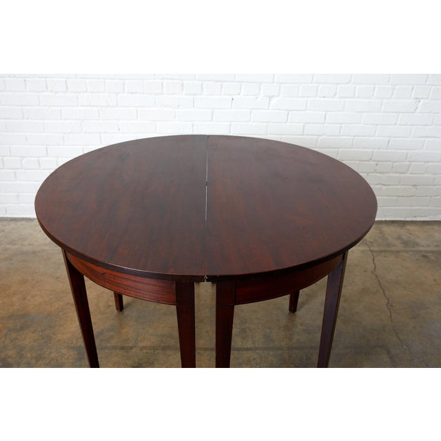 Brown English Hepplewhite Mahogany Dining Table With Demilunes For Sale - Image 8 of 13