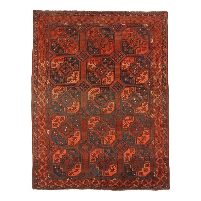 1940s Afghan Area Rug Tekeh Design For Sale