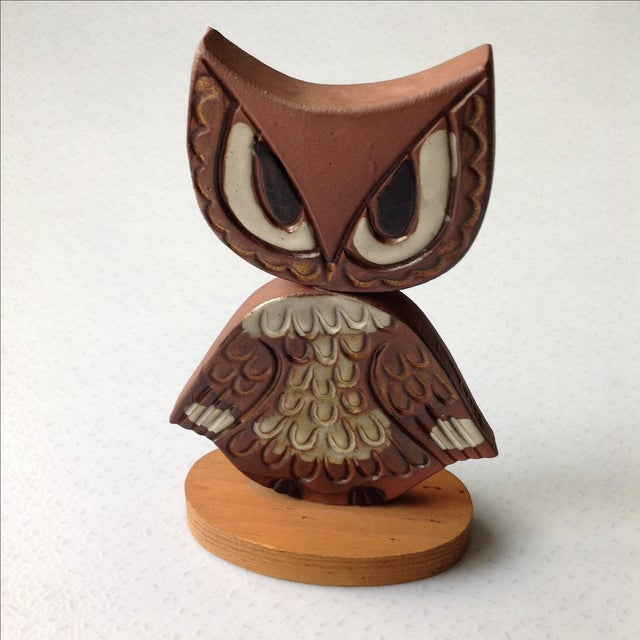 Mid-Century Modern Studio Pottery Owl Sculpture - Image 3 of 9