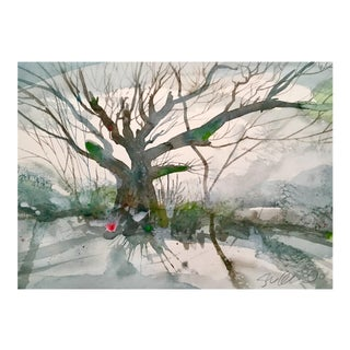 Snow & Branches Original Watercolor Painting For Sale