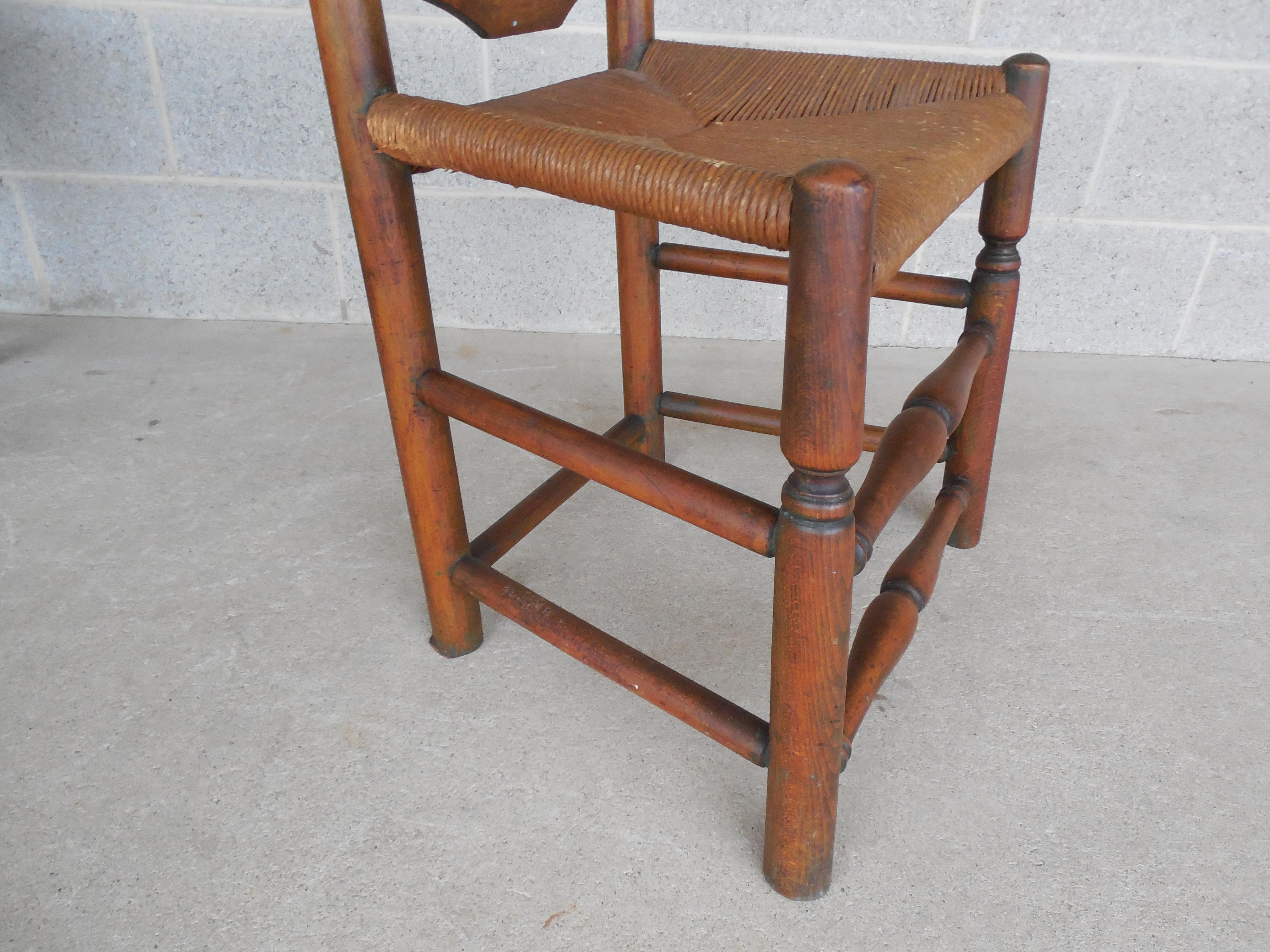 Ordinaire Set Of 6 Antique Turned Windsor Rush Bottom Chairs   Image 7 Of 12