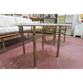 Vintage Mid Century Modern Solid Brass Side Tables With Travertine Marble Tops - a Pair Preview