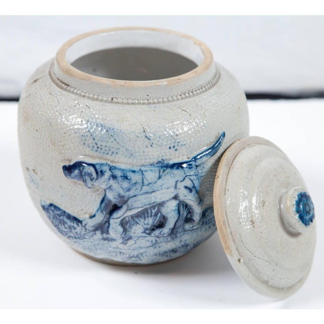 Traditional 19th Century Blue Glaze Stoneware Covered Jar For Sale - Image 3 of 9