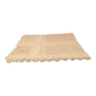 Antique Linen Handwork Bedspread For Sale