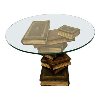 Faux Staggering Book End, Side or Sofa Table For Sale