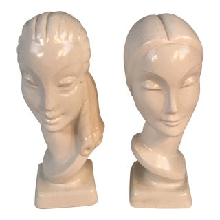 Art Deco Female Women Head Bust Figurines - a Pair For Sale