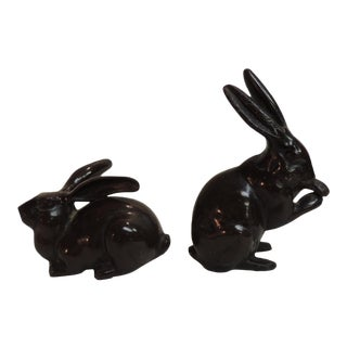 1950s Vintage Cast Brass Painted Brown Rabbit Figurines- A Pair For Sale