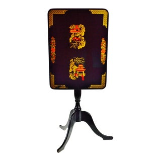 Antique Asian Decorated Black Lacquered Tilt Top Table For Sale
