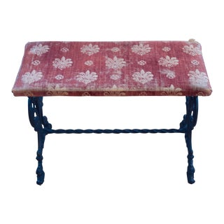 Early 20th Century Vintage Victorian Wrought Iron Upholstered Piano Vanity Bench For Sale