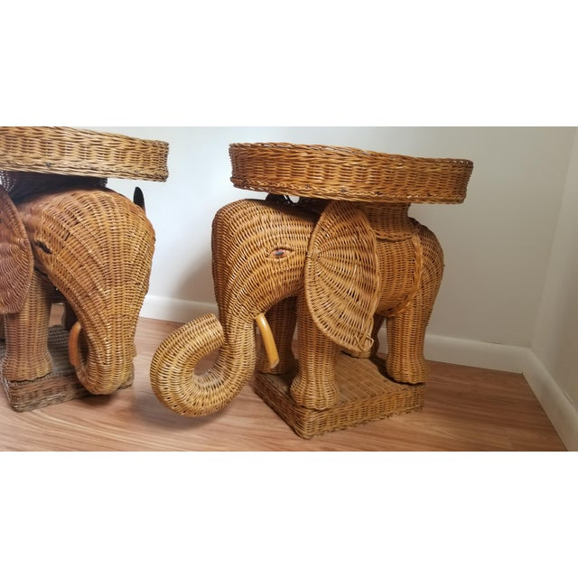 1960s Boho Chic Woven Elephant Tray Tables - a Pair For Sale In West Palm - Image 6 of 10