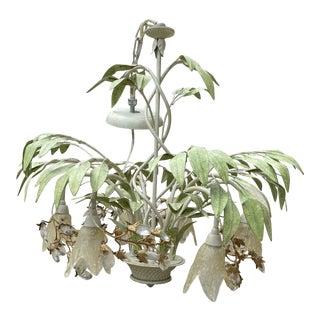 Vintage Boho Floral Tole Painted Botanical Chandelier For Sale