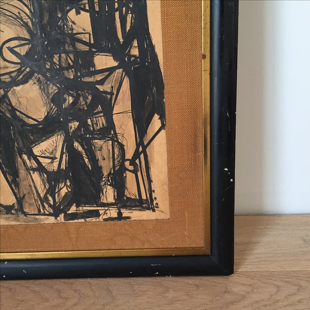 Vintage Mid-Century Original Ink Abstract in Frame - Image 4 of 8