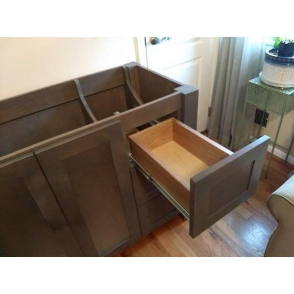 Solid Wood Grey Bathroom Vanity - Image 4 of 6
