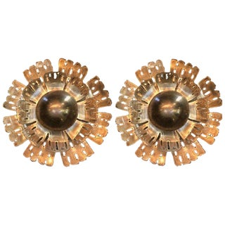 1960s Danish Flame Brass Flower Wall Lights by Holm Sørensen - a Pair For Sale